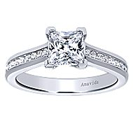 Denita 18k White Gold Princess Cut Straight Engagement Ring angle 5