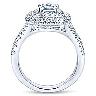 Destiny 14k White Gold Cushion Cut Double Halo Engagement Ring angle 2