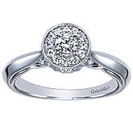 Devyn 14k White Gold Round Halo Engagement Ring angle 5