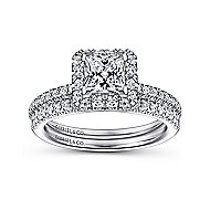 Diana 14k White Gold Princess Cut Halo Engagement Ring angle 4