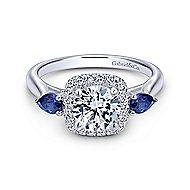Dina 14k White Gold Round 3 Stones Halo Engagement Ring angle 1