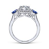 Dina 14k White Gold Round 3 Stones Halo Engagement Ring angle 2