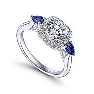 Dina 14k White Gold Round 3 Stones Halo Engagement Ring angle 3