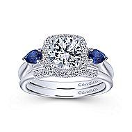 Dina 14k White Gold Round 3 Stones Halo Engagement Ring angle 4