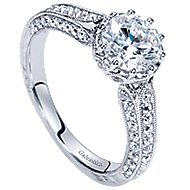 Dinah 14k White Gold Round Straight Engagement Ring angle 3