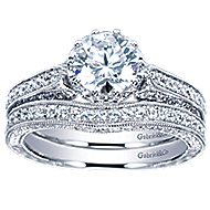 Dinah 14k White Gold Round Straight Engagement Ring angle 4