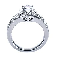 Dion 14k White Gold Pear Shape Halo Engagement Ring angle 2