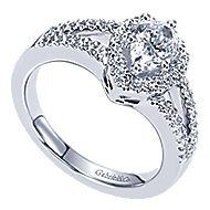 Dion 14k White Gold Pear Shape Halo Engagement Ring angle 3