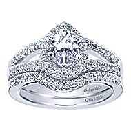 Dion 14k White Gold Pear Shape Halo Engagement Ring angle 4