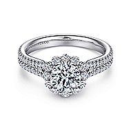 Dixie 14k White Gold Round Halo Engagement Ring angle 1