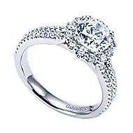 Dixie 14k White Gold Round Halo Engagement Ring angle 3