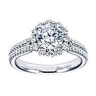 Dixie 14k White Gold Round Halo Engagement Ring angle 5