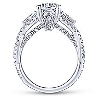 Doris 18k White Gold Round 3 Stones Engagement Ring angle 2
