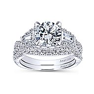 Doris 18k White Gold Round 3 Stones Engagement Ring angle 4