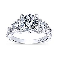 Doris 18k White Gold Round 3 Stones Engagement Ring angle 5