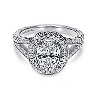 Dorothea 14k White Gold Oval Halo Engagement Ring