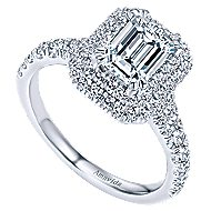 Dottie 18k White Gold Emerald Cut Double Halo Engagement Ring angle 3