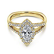 Drew 14k Yellow Gold Marquise  Halo Engagement Ring angle 1