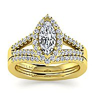 Drew 14k Yellow Gold Marquise  Halo Engagement Ring angle 4