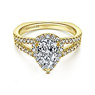 Drew 14k Yellow Gold Pear Shape Halo Engagement Ring angle 1