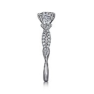 Edlynn 14k White Gold Cushion Cut 3 Stones Engagement Ring angle 4