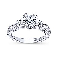 Edlynn 14k White Gold Cushion Cut 3 Stones Engagement Ring