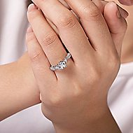 Edlynn 14k White Gold Cushion Cut 3 Stones Engagement Ring angle 6