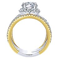 Efron 18k Yellow And White Gold Round Halo Engagement Ring