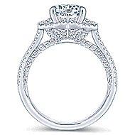 Ego 18k White Gold Round Halo Engagement Ring angle 2