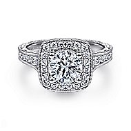 Elaine 14k White Gold Round Halo Engagement Ring angle 1