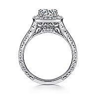 Elaine 14k White Gold Round Halo Engagement Ring angle 2