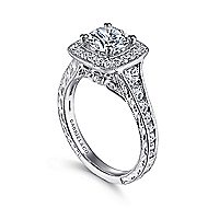 Elaine 14k White Gold Round Halo Engagement Ring angle 3