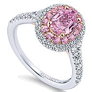 Elara 14k White And Rose Gold Oval Double Halo Engagement Ring angle 3