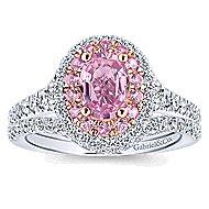 Elara 14k White And Rose Gold Oval Double Halo Engagement Ring angle 4