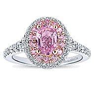 Elara 14k White And Rose Gold Oval Double Halo Engagement Ring