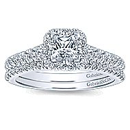 Eleanora 14k White Gold Princess Cut Halo Engagement Ring