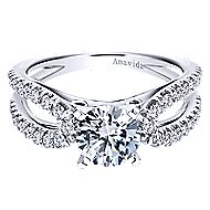 Elena 18k White Gold Round Split Shank Engagement Ring angle 1