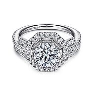 Elenor 18k White Gold Round Halo Engagement Ring angle 1