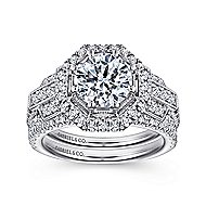 Elenor 18k White Gold Round Halo Engagement Ring angle 4