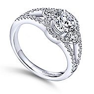 Elissa 14k White Gold Round 3 Stones Engagement Ring angle 3