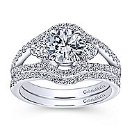 Elissa 14k White Gold Round 3 Stones Engagement Ring angle 4