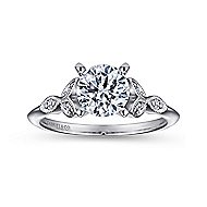 Eliza 14k White Gold Round Straight Engagement Ring angle 5