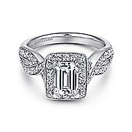 Elizabeth 14k White Gold Emerald Cut Halo Engagement Ring angle 1