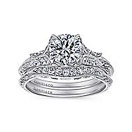 Elizabeth 18k White Gold Round Straight Engagement Ring angle 4