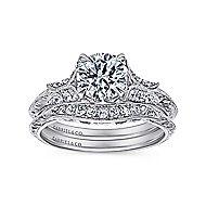 Elizabeth 18k White Gold Round Straight Engagement Ring