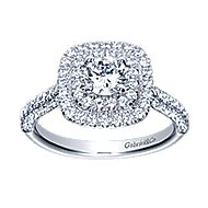 Ellie 14k White Gold Round Double Halo Engagement Ring angle 5