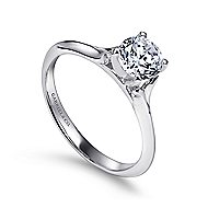 Ellis 14k White Gold Round Solitaire Engagement Ring angle 3