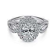Elspeth 14k White Gold Oval Double Halo Engagement Ring angle 1
