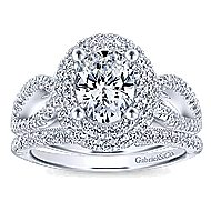 Elspeth 14k White Gold Oval Double Halo Engagement Ring angle 4