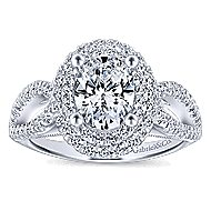 Elspeth 14k White Gold Oval Double Halo Engagement Ring angle 5